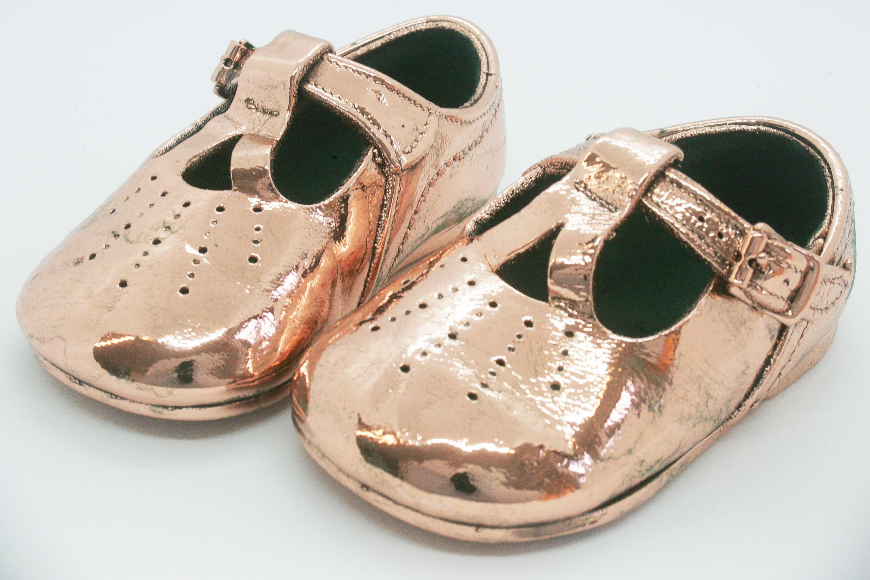 Copper Leather Bucked Shoes